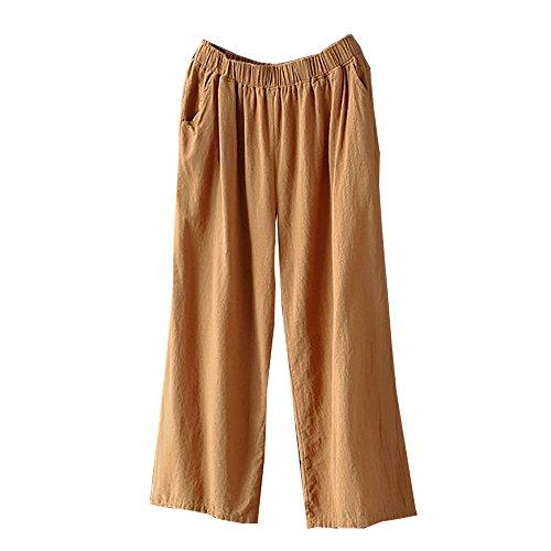 (Women Pants LuluZanm Ladies Summer Palazzo High Waist Trousers Loose Wide Leg Culottes Cotton Linen Pants Khaki)