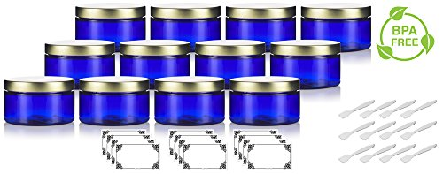 (Cobalt Blue 4 oz / 120 ml PET Plastic (BPA Free) Refillable Low Profile Jar with Gold Metal Lid (12 Pack) + Spatulas and)