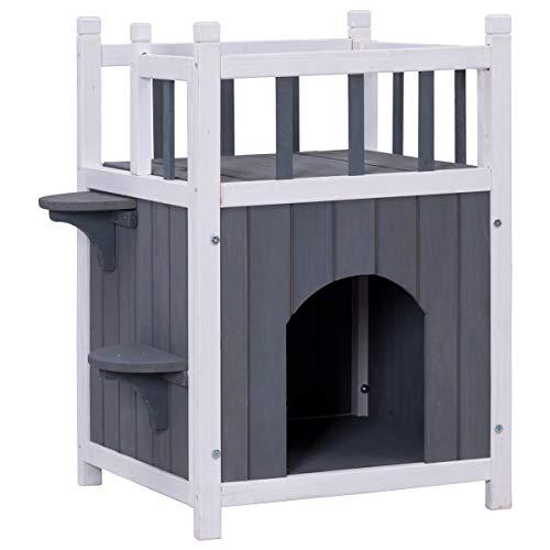 Tangkula Cat House 2 Story Wood Outdoor Weatherproof Pet Kitten Condo Shelter (Wooden Cat House)