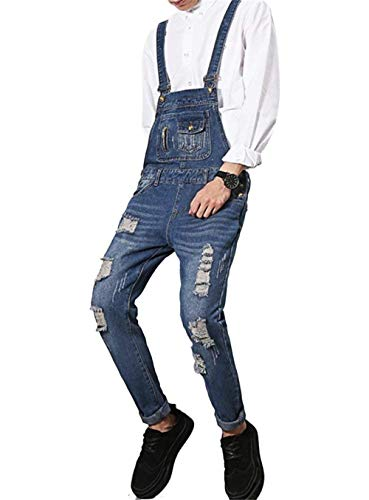 A Ragazzo Uomo Foro Blu Fit Tasche Tuta Jeans Scuro B Gamba Skinny Stretta Di Con Da Salopette znYqPS