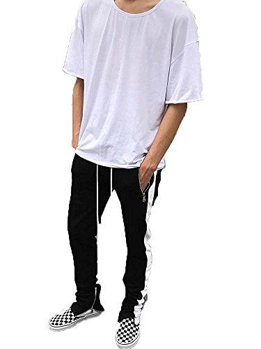 SENSERISE Mens Stretch Hip Hop Ankle Zipper Jogger Pants Side Stripe Track Pants(Black/White,S) by SENSERISE