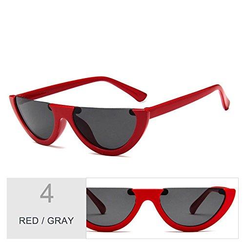 mujeres Negro Vintage Red de TL de gafas Sunglasses sol ojo claro Gray personalidad gato de Gafas 8q8Yw7HB