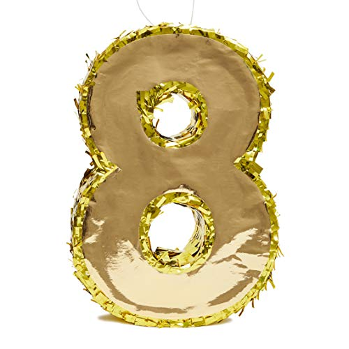 Juvale Small Number 8 Gold Foil Pinata, Eighth Birthday Party Supplies, 15.5 x 10.5 x 3 Inches (Birthday Number Party 8)