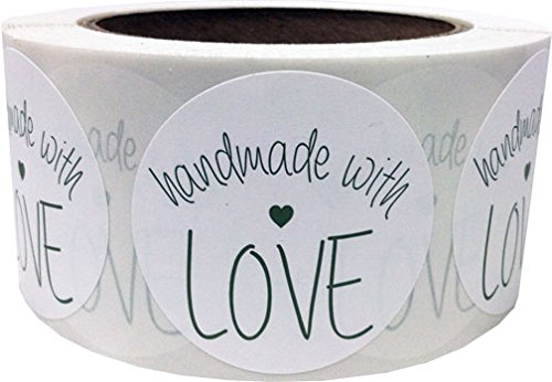 2 Round Handmade With Love White with Olive Green Stickers | 500 Total Adhesive Labels