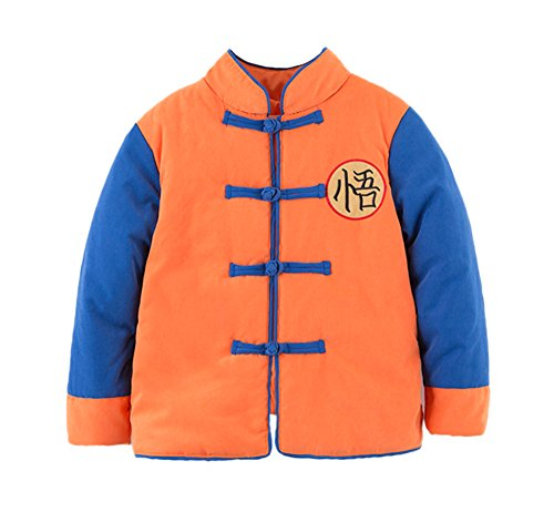 stylesilove Kids Baby Boys Traditional Chinese Inspired Warm Fleece Jacket Coat (120/5-6 Years, Son Goku (Fleece Traditional Coat)