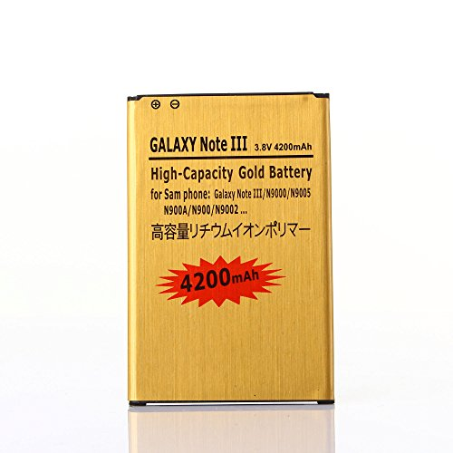 Gold Extended Samsung Galaxy Note 3 High Capacity Battery B800BC B800BE B800BU For Samsung Galaxy Note 3 N9000 / Samsung Galaxy Note 3 SM-N900A / Samsung Galaxy Note 3 SM-N900T / Samsung Galaxy Note 3 SM-N900P / Samsung Galaxy Note 3 SM-N9005 / Samsung Galaxy Note 3 SM-N900V 4200 mAh