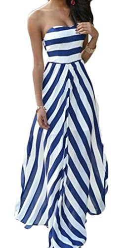 Strapless Long Blue Stripe Prom Bandeau Fit Sexy Cromoncent Backless Women Classic Dress nUB00q