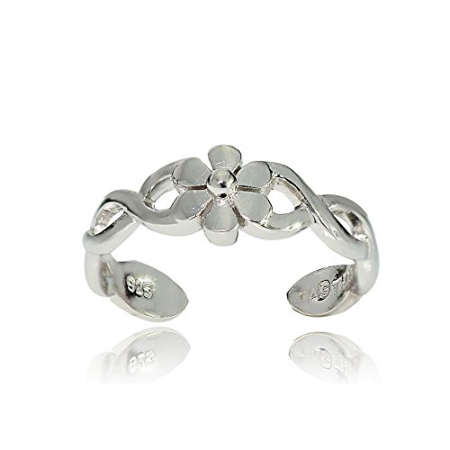 Hoops & Loops Sterling Silver Braided Daisy Flower Toe Ring