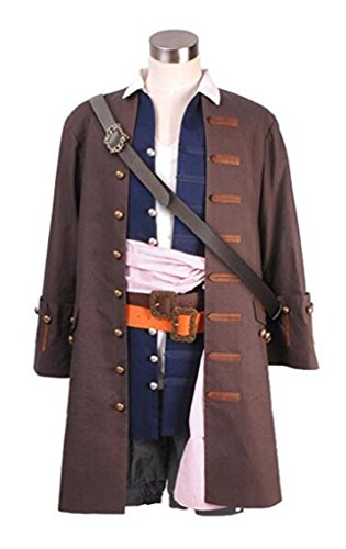 Captain Jack Cosplay Costume Halloween Outfit Christmas Full Set (XL, Man) -