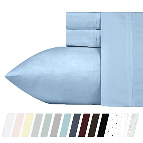 California Design Den 400 Thread Count 100% Cotton Sheet Set, Blue Queen Sheets 4 Piece Set, Long-Staple Combed Pure Natural Cotton Bed Sheets for Bed, Soft & Silky Sateen Weave