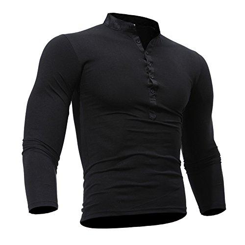 (Men Spring Autumn Cotton T Shirt Solid Color Long Sleeve Top)