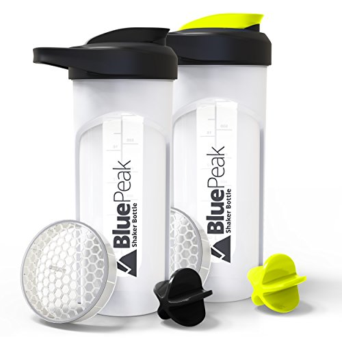 BluePeak Protein Shaker Bottle 28-Ounce, 2-Pack, with Dual Mixing Technology. BPA Free, Shaker Balls & Mixing Grids Included - Drink Shaker Bottle Sports