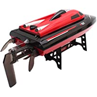 Remote Control Boat Newest Ship 2.4G 4-channel RC Boat Automatical Overturn Childrens Electric Toy Wireless Speedboat (USB) (Red (H101))