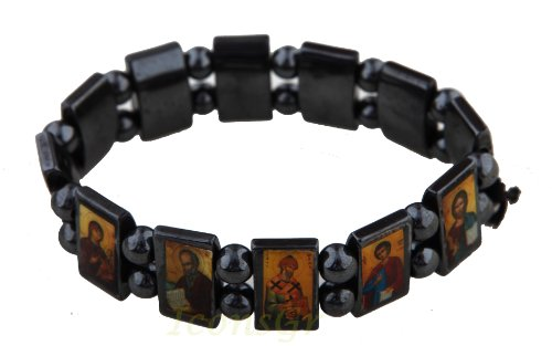 Iconsgr Christian Orthodox Greek Religious Hematite Bracelet with Saints
