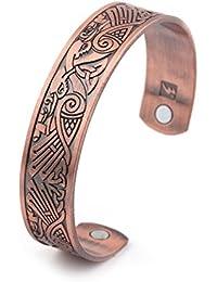 Health Care Magnetic Bracelet Viking Raven Cuff Bangle Irish Knotwork Birds Talisman Pagan Jewelry