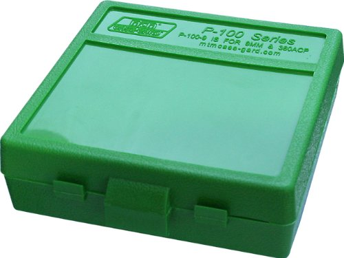 MTM P-100-9-10 100 Round Flip-Top Ammo Box 380/9MM Cal (Green)