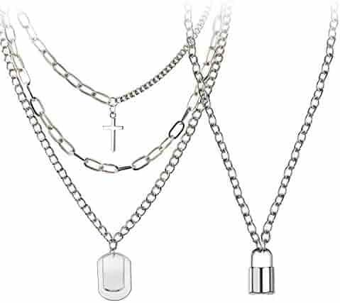 BVROSKI Eboy Chain Necklace - Statement Lock Pendant Necklace Sliver Set Egirl Long Multilayer Rapper Chains Punk Choker 2 Piece for Men Women