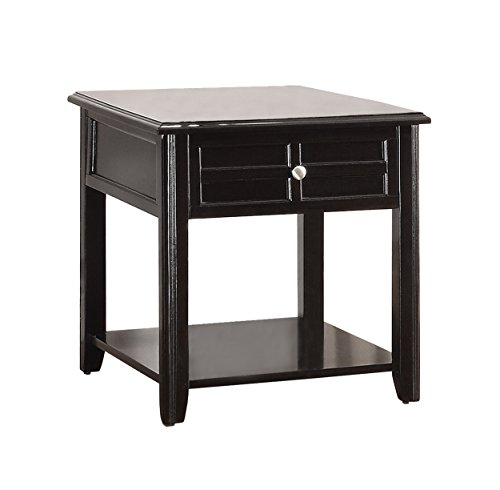 Homelegance Carrier End Table with Shelf & Drawer, Espresso