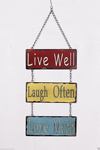 Live Well,Laugh Often,Love Much Metal Wall Hanging Chain Tin Sign 17 Inch Tall