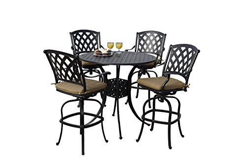 "Darlee 201630-5PC-30F Ocean View Cast Aluminum 5 Piece Bar Set Seat Cushions Table, 42"", Antique Bronze"