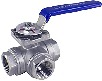 WOG200 3-Way 304 Stainless Steel Ball Valve L-Type FPT SS304 SUS304
