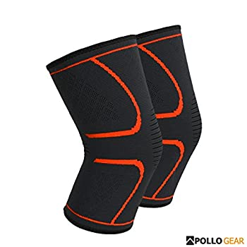 Apollo Gear Compression Knee Sleeve- Support & Compression- Knee Pain, Support, Joint Pain Relief, Arthritis and Injury Recovery (Large)