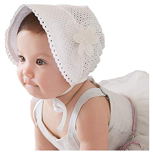 Baby Girl Toddlers Breathable Lacy Bonnet Eyelet Cotton Adjustable Sun Protection Hat (White)