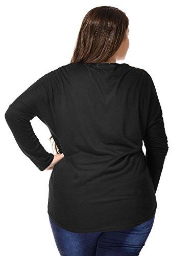 Allegra K Damen Plus Größe Übergröße Panel stilvolle Dolman Ärmeln T Shirt Tops de
