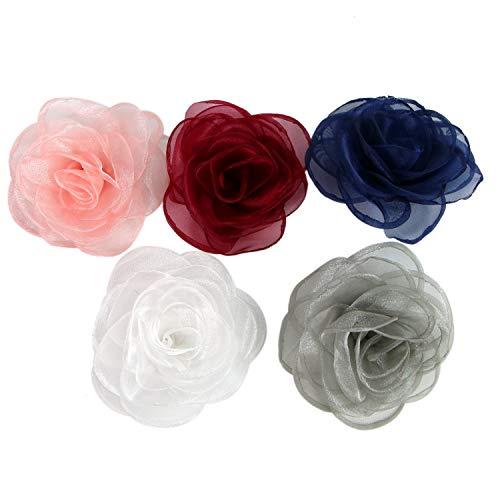 Monrocco Lovely Rose Flower Hair Clip Rose Brooches Satin Flower Fabric Flower for Women Girls Flower Brooch Lady Hair Styling Clip Hair Accessories