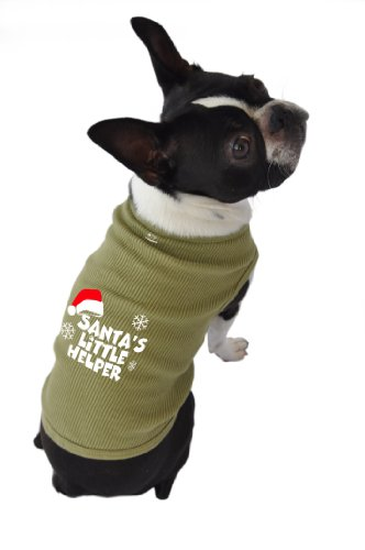 Santa Dog Tank - Doggie Tank Top, Santa's Little Helper, Green, Extra-Large