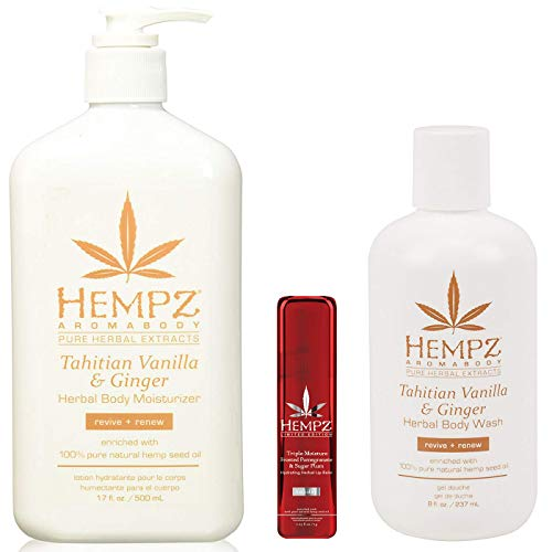 Hempz Tahitian Vanilla Ginger Herbal Body Moisturizer Lotion Wash Limited Edition Lip Balm Trio Set