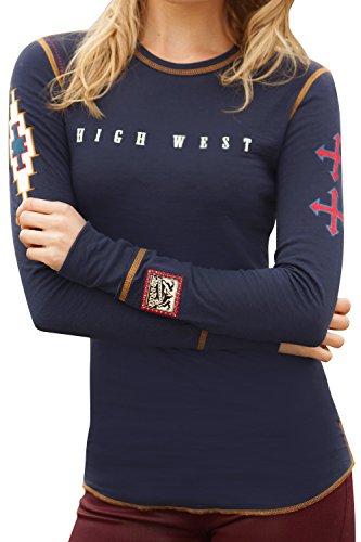 Alp-n-Rock Women's High West Long Sleeve Crew Shirt, Navy