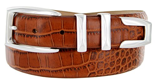 Plated Alligator (S5786 - Men's Italian Calfskin Designer Dress Belt with Silver Plated Buckle Set (40 Alligator Tan))