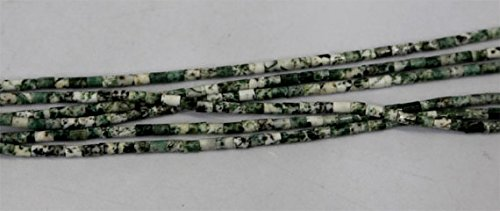 JP_Beads 1 Strands Natural Green White Milky Tree Moss Agate Tube Columnar Loose Beads Small 4x6mm -