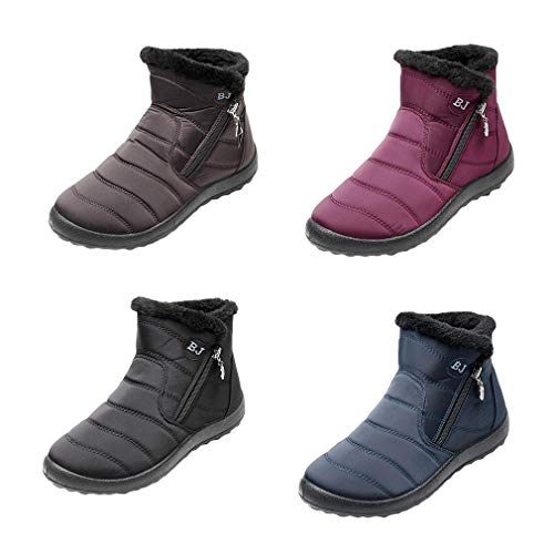 Fleece Casual Outdoor Brown Women Shoes Boots Fashion Shoes Black Blue Zipper with Red Winter Boots Lining Slip Black Warm Anti Side Ladies Ankle Hibote Autumn 01adTTx