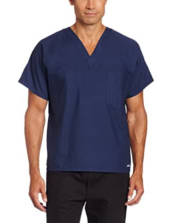 Landau Unisex Scrub Top, Navy, X-Small