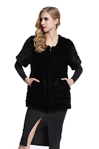 Plus Size Fluffy Dog Costumes (Topfur Women's Kintted Black Mink Fur Coat Short Sleeves Outercoat(US 4))