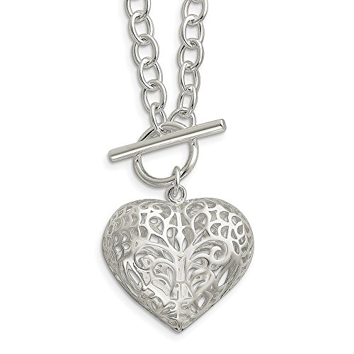 925 Sterling Silver Large Heart 18 Inch Chain Necklace Pendant Charm S/love Fine Jewelry Gifts For Women For Her ()