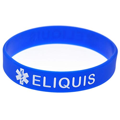 Blue Silicone Rubber Medical Awareness Alert Bracelet (Eliquis)