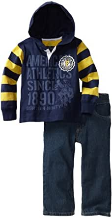 U.S. POLO ASSN. Little Boys' Hooded Top with Jean, Navy, 2T