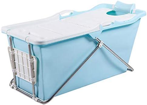 家族浴室用エアーポンプ付きインフレータブルバスPVC折りたたみポータブルインフレータブルバスタブブローアップエアバスタブPVC滑り止め (Color : Blue)