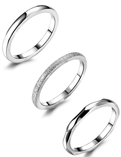 (JOERICA 3Pcs 2mm Stainless Steel Women's Stackable Eternity Ring Band Engagement Wedding Ring Set 4-9 (Stainless-Steel, Silver Tone, 7))