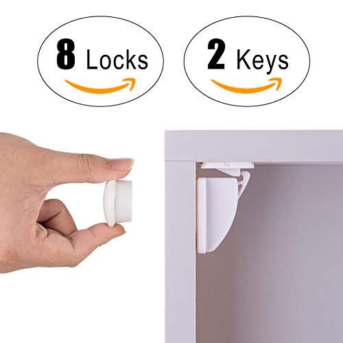Baby Proof Magnetic Cabinet Safety Locks, CO-Z Hidden Magnetic Latch Lock Systems - No Tools No Drill Needed (8 Locks + 2 Keys)