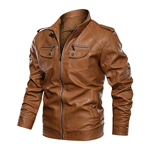 ZEFOTIM Trench Coats for Men, Autumn Winter Vintage Zipper Stand Collar Solid Imitation Leather Coat(K-Khaki,X-Large)