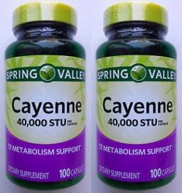 Spring Valley Natural Cayenne Fruit Whole Herb 40,000 STU, 200 Capsules (Two 100ct bottles)
