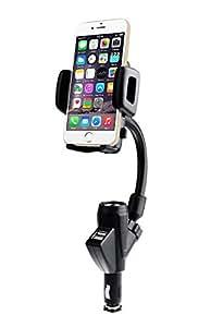 Eximtrade Universal 3en1 Ajustable 360° Rotación Soporte Teléfono Coche Monte Cuna con Encendedor DC Puerto and Doble Puertos USB 3.1A Cargador para Apple iPhone 6/6s/6 Plus/6s Plus, Samsung Galaxy S6/S6 Edge/S6 Edge Plus y otros Smartphones