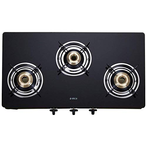 Elica Vetro Glass Top 3 Burner Kitchen Gas Stove
