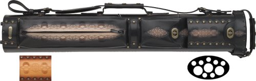 3 Butt and 7 Shaft Tooled Pool Cue Cases Color: Black