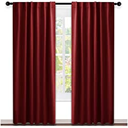 "NICETOWN Burgundy Blackout Window Draperies Curtains - (Burgundy Red Color) 52"" x 84"", Double Panels, Thermal Insulated Blackout Drapes/Panels"