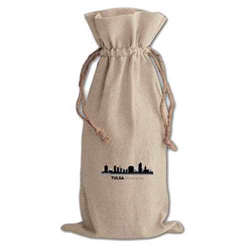 Tulsa Shadow Cotton Canvas Wine Bag, Cotton Drawstring Wine Pouch Natural